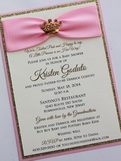 Pink and Gold Princess Baby Shower Invitation with Gold Sparkling Tiara; Rhinestone Buckle; Rhinestone Tiara Brooch
