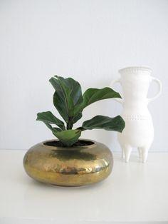 Vintage Hammered Brass Planter. $28.00, via Etsy.