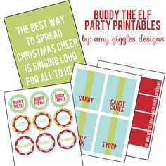 Buddy the Elf Party Printables Custom order by AmyGigglesDesigns, $20.00