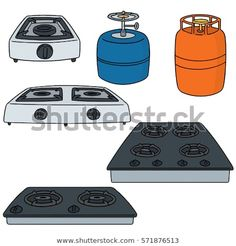 Illustration about Vector set of gas stove hand drawn cartoon, doodle illustration. Illustration of creative, fire, clip - 117628404