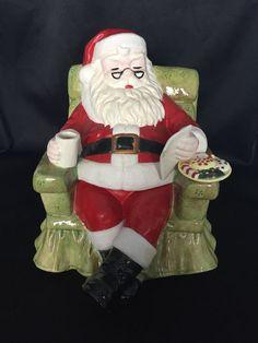 SANTA sitting in Chair with Milk and Cookies Ceramic COOKIE JAR 1972 Mold 12''  | eBay