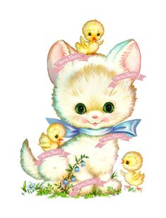 Art Print: Kittens and chicks Art Print by Pop Ink - CSA Images : Clip Art Vintage, Vintage Cat, Vintage Easter, Vintage Images, Vintage Pictures, Vintage Greeting Cards, Vintage Postcards, Art Mignon, Cute Clipart