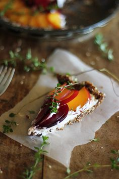 Raw Simple Stone Fruit and Thyme Tart with Coconut Cream Recipe (Gluten-Free) by Wholehearted Eats