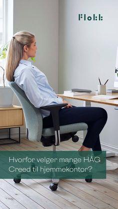 For mange har hjemmet blitt den nye arbeidsplassen, og du fortjener å sitte godt på hjemmekontor. HÅG Creed kombinerer klassisk design med funksjonalitet og brukervennlighet. Med vår unike HÅG in Balance® teknologi har den en balansert og flytende tiltfunksjon, i tillegg til flere justeringsmuligheter som sikrer at stolen tilpasser seg deg og dine behov. - 10 års garanti - HÅG in Balance® - Prisvinnende design - Produsert i Norge Workspace Design, Entryway Bench, Home Office, Desk, Inspiration, Furniture, Home Decor, Entry Bench, Biblical Inspiration