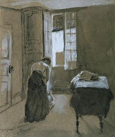 Woman Dressing by Gwen John Gwen John, Mary John, Impressionist Paintings, Oil Paintings, Post Impressionism, Portraits, French Art, Vincent Van Gogh, Figure Drawing