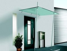 set_mit_2_stützen Front Door Canopy, Awning Canopy, Canopy Outdoor, Glass Balustrade, Glass Railing, Entrance Design, Entrance Doors, House Awnings, Backyard Guest Houses