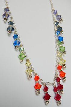 Rainbow Chakra Necklace-Swarovski Crystal-CUSTOM ORDER-Chakra Necklace- Color Therapy- Rainbow Large Sparkler Collection-Energy Healing