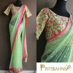 Looking for some designer sarees? Check out the amazing collection by Priti Sahni. My favourite is this floral pista green net saree. #Frugal2Fab