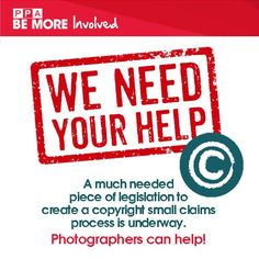 Help Us Fight for Copyrights! PPA is working to get Copyright Small Claims enforced for photographers & artists. Now we need your help!