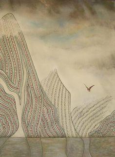"lacalaveracatrina: "" by John Bevan Ford "" Maori Designs, New Zealand Art, Nz Art, Clouds Pattern, Maori Art, Collaborative Art, Landscape Paintings, Landscapes, Teaching Art"