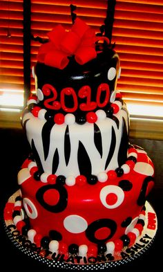 Red, Black, and White Graduation Cake   Flickr - Photo Sharing!