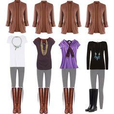 Brown sweater and gray leggings