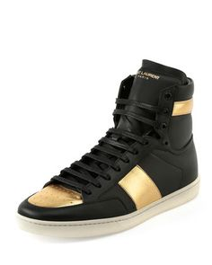 SL/18H+Leather+High-Top+Sneaker,+Black/Gold+by+Saint+Laurent+at+Neiman+Marcus.
