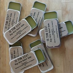Slide top tin featuring brown kraft labels for Bug-Bite Relief Balm