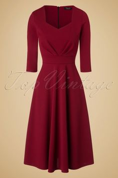 Vintage Chic - 50s Ruby Swing Dress in Burgundy