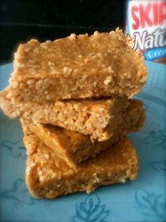 3 Ingredient No Bake Peanut Butter Bars Ingredients: peanut butter - 1 cup honey - 1 cup old fashioned oatmeal - 3 cups  Instructions: Put peanut butter and honey in a heavy saucepan and heat on low until thoroughly combined and becomes a liquid consistency. Mix in oats and stir. Press into a 9 x 9 inch pan. Cover and let set overnight *for gluten free, use gluten free oats *for clean eating, use raw honey