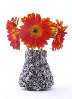 flower vase - made from recycled magazines