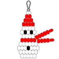 Beadie Snowman Complete with pattern on FreeKidsCrafts.com