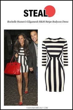 Steal: Rochelle Humes's Gilgamesh H&M Stripe Bodycon Dress - Fashion Bomb Daily Style Magazine: Celebrity Fashion, Fashion News, What To Wea...