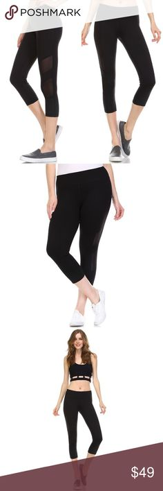 🔴SALE🔴 S-2X! BLACK Workout Capris Get your workout on without paying the big ticket price! Stretch knit with mesh-paneled sides. 88% polyester 12% spandex. No trades. No lowball offers. Pants