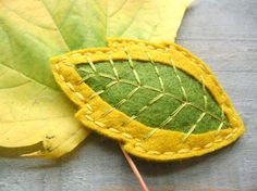 Embroidered Leaf Hair Clip // Mossy Yellow // by OrdinaryMommy,