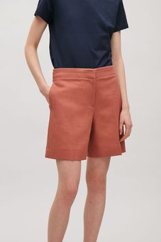 COS image 2 of Tailored cotton shorts in Terracotta