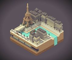 Voxel Art by Sir Carma  Pixel in 3D, « Voxel » is a visual element that gives the impression of an accumulation of boxes. The French Sir Voxel started in early 2015 to play with this technique, composing scenes and landscapes visually very interesting. An impressive result, between city representation and reproduction of video game sets, who asked talent, vision and patience.