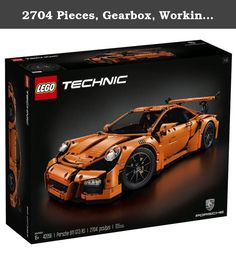 """2704 Pieces, Gearbox, Working Steering Wheel Porsche Building Toy, 6""""H x 22""""L x 9""""W. Celebrate innovative engineering and design from one of the world's leading car manufacturers with this stunning LEGO Technic model. Developed in partnership with Dr. ING. H.C.F. Porsche AG, this elegantly packaged LEGO Technic Porsche 911 GT3 RS with its sleek aerodynamic lines, adjustable rear spoiler and orange bodywork is packed with authentic features and functions that capture the magic of the…"""