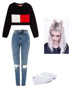 """Untitled #50"" by haileymagana on Polyvore featuring Hilfiger Collection, Topshop and adidas Originals"