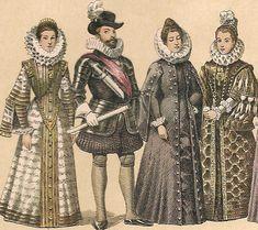 renacimiento: se llevaba  un cuello fruncido de encajes y prendas oscuras con mangas de raso, decoradas con cintas gemas y perlas. en las prendas femeninas tanto los hombres como las mujeres usaban pañuelos para sonar la nariz, o como un carácter decorativo.
