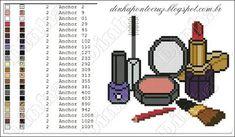 entários - Dinha Ponto Cruz - bem vindos deixem seus com Cross Stitch Charts, Cross Stitch Embroidery, Cross Stitch Patterns, Plastic Canvas Patterns, Pixel Art, Perfume, Make Up, Minis, Cute Cross Stitch