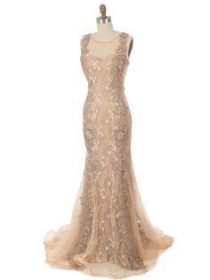 30s Inspired Beaded Gold Lace Tulle Gown-Evening Dress - Blue Velvet Vintage