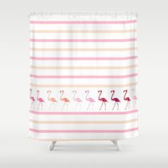 "PINK FLAMINGO WALK  by Monika Strigel Shower Curtain / 71"" by 74"" $68.00  #flamingo #pink #apricot #orange #pastel #white #summer #stripes #flamingo #painting #illustration #showercurtain #bathroom #dorm #curtain #parade #monikastrigel"