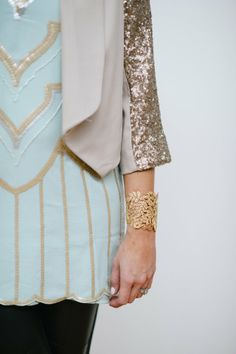Lou What Wear sparkles in a Sequin Shift Dress & Sequin Sleeve Blazer and adds a touch of lace with our Chantilly Lace Cuff.