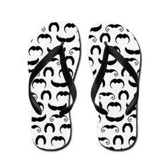Retro Mustaches Flip Flops