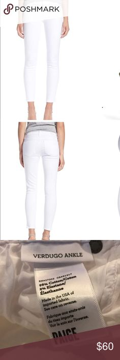 Paige Ankle White Skinny Jeans These Paige white skinny jeans will be a perfect addition to your spring/summer wardrobe. They are in excellent condition. Bundle with the Pim and Larkin tank in my closet. PAIGE Jeans Skinny