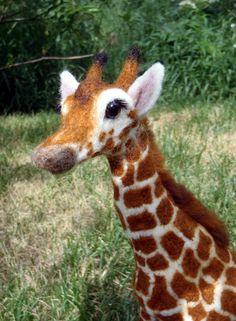 Needle Felted Wool Animal African Reticulated Giraffe Felting Spots! Carol Rossi | eBay