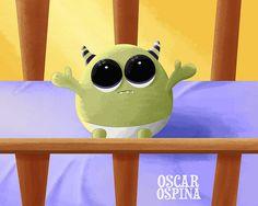 """Baby Monster"" by Oscar Ospina Fun Illustration, All Things Cute, Anime Chibi, Neko, Amazing Art, Cute Animals, Sketches, Kawaii, Monster Mash"
