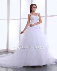 A-line Wedding Dresses Square Chapel Train Organza Satin White 010010100618
