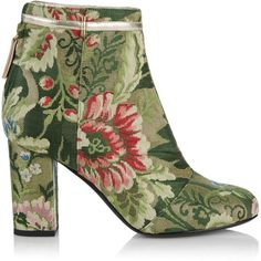 Rubeus Milano Lampasso Brocade Ankle Boot (2 026 510 LBP) ❤ liked on Polyvore featuring shoes, boots, ankle booties, metallic booties, ankle bootie boots, ankle boots, short boots and metallic boots