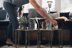incense, succulants, gold, black, brass tables, living room, Cody Derrick, cityhomeCOLLECTIVE