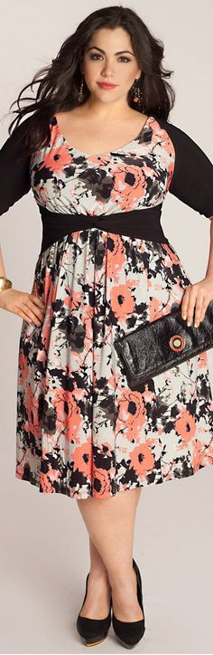 Black shoes and bag and lot of color dress pus size