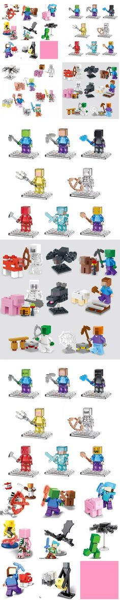 Enlighten Mine World Minecrafted Pocket Minifigures Building Blocks Bricks My Craft Crystal Mini Figures Kids Educational Toys