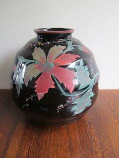 Online veilinghuis Catawiki: E Merlin - Een grote ronde vaas van Booms glas met bloemendecor