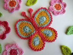 Háčkovaný motýl, butterfly applique crochet pattern