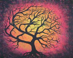 Red TREE painting, Tree art, Original fine art, FRAMED, Acrylic painting by Jordanka Yaretz