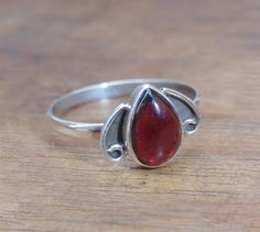 Sterling Silver Garnet Ring Natural Gemstone by MaheshwariSterling