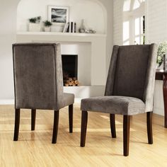 TRIBECCA HOME Ian Grey Chenille Wingback Dining Chair (Set of 2) | Overstock™ Shopping - Great Deals on Tribecca Home Dining Chairs