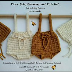 agasalhosbugalhos shared a new photo on Etsy Easy Baby Knitting Patterns, Christmas Knitting Patterns, Baby Hats Knitting, Knitted Hats, Newborn Crochet, Crochet Baby, Dk Weight Yarn, Knitted Romper, Baby Bloomers