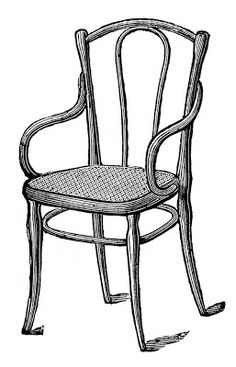 Antique Images  Caned Bentwood Chairs Furniture clip art of